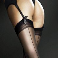 20 Denier Plain Top Stockings with Seams in Black, White or Nude